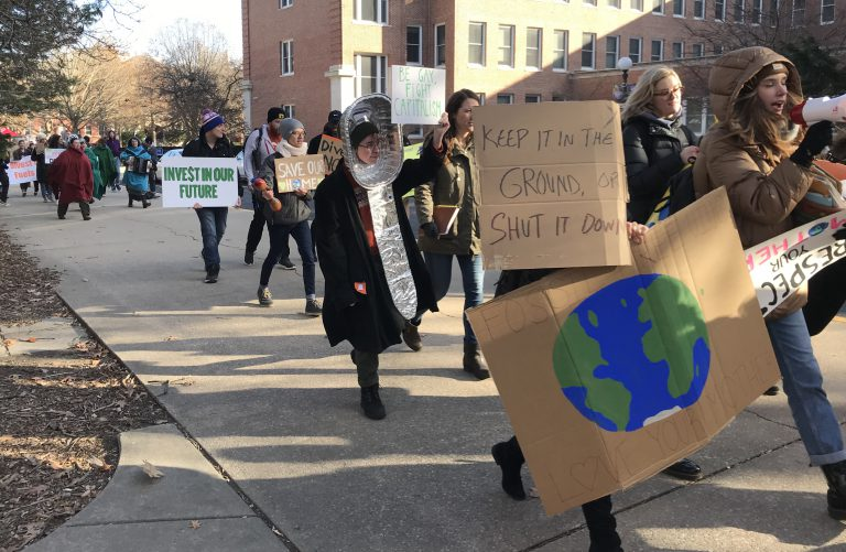 Climate Strike Two marchers on University of Illinois campus