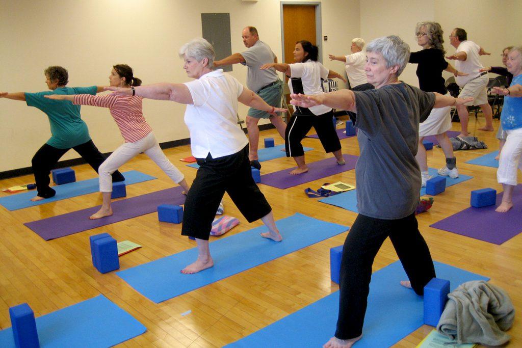 Participants in a yoga study.