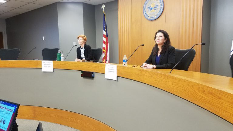 (L-R) 13th District Democratic congressional candidates Stefanie Smith and Betsy Dirksen Londrigan, at a Feb. 11 candidate's debate in the Champaign City Council chamber.